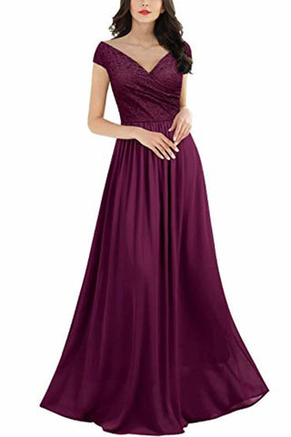 Sleeveless V-Neck Lace Chiffon Dress Bridesmaid Party Festive Chiffon Long