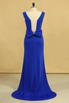 2021 Plus Size Prom Dresses Square Neckline Sweep Train With Bow-Knot Dark Royal Blue