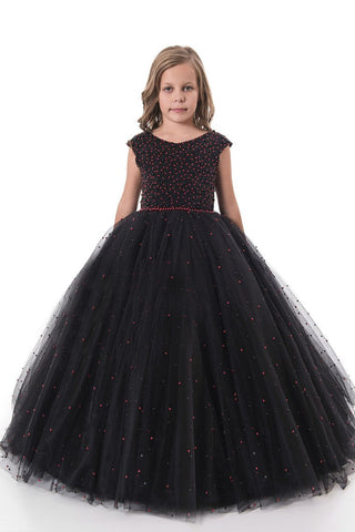Scoop Tulle With Beading Ball Gown Floor Length Flower