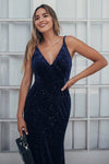 V-Neck Spaghetti Straps Velvet Dark Navy Blue Mermaid Evening Dress, Prom Dresses SME15480