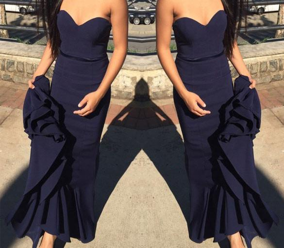 Simple Sweetheart Navy Blue Mermaid Prom Dress with Sash Sweep Train JS596