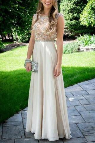 Nectarean Bateau Sleeveless Floor Length Light Champagne Prom Dresses JS597