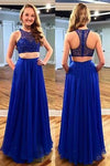 Stunning Two Piece Jewel Sleeveless Floor-Length Royal Blue Prom Dress with Beading JS598