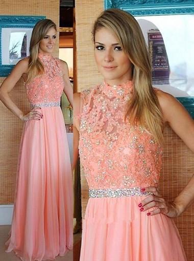 Nectarean High Neck Floor-Length Sleeveless Peach Prom Dress with Beading Lace Top JS585