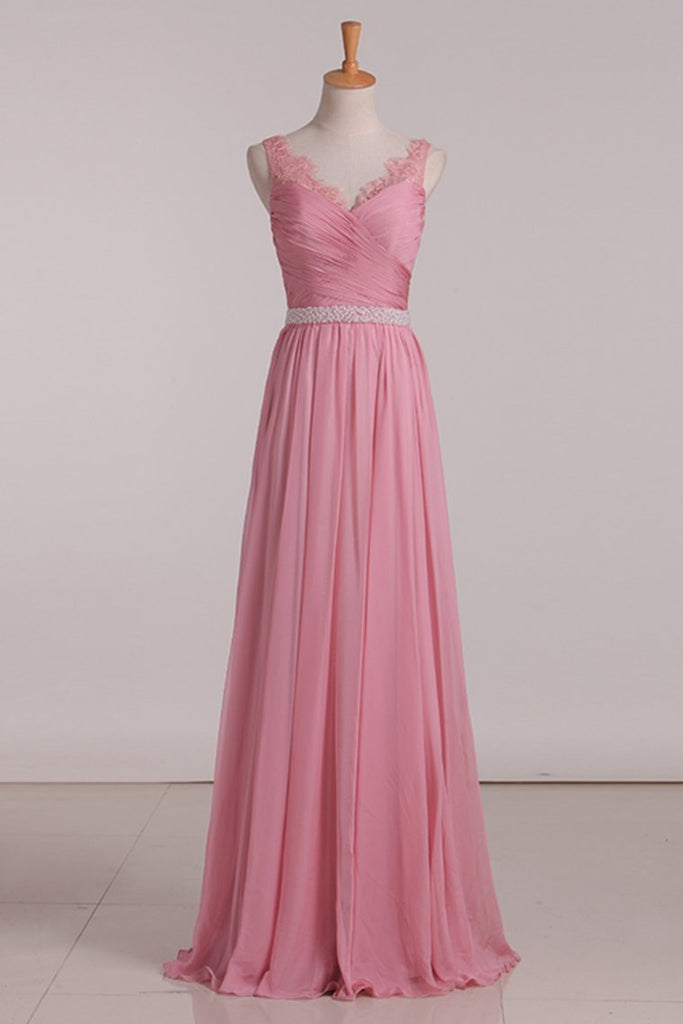 2021 Bridesmaid Dresses A Line V Neck Beaded Waistline Chiffon With Ruffles