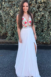 Beauty Flowy White Embroidery V-Neck Prom Dresses Party