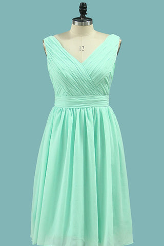 2019 Bridesmaid Dresses V Neck Chiffon With Ruffles A Line