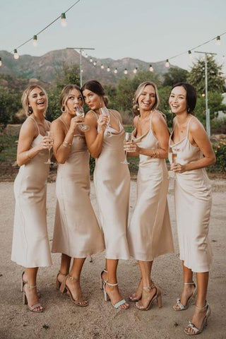 A Line Long Fashionable Simple Cheap Satin Bridesmaid Dresses