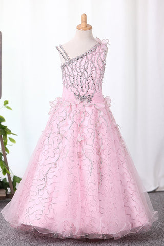 2019 Shiny Flower Girl Dresses Ball Gown Straps With Handmade Flowers