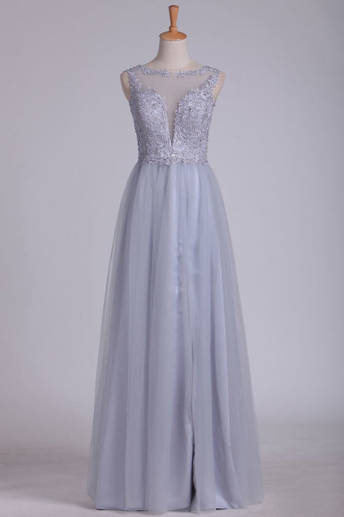 Prom Dresses A Line Bateau Tulle With Applique Floor Length