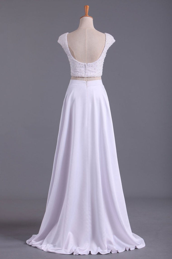 2020 Cap Sleeves Prom Dresses Scoop A Line Beaded Bodice Floor Length