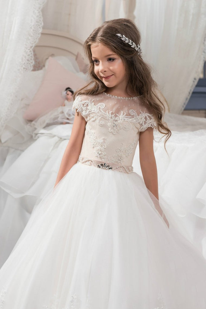 2021 New Arrival Scoop Tulle With Applique Ball Gown Flower Girl