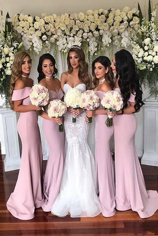 Simple Mermaid  Off The Shoulder Sweep Train Split Front Bridesmaid Dresses