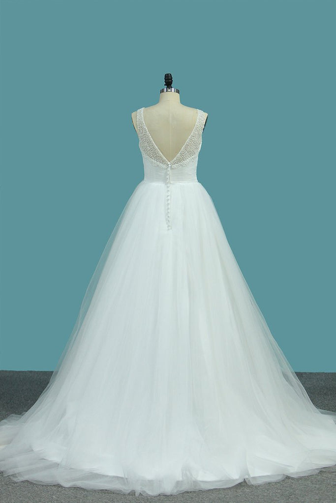 2021 A Line Tulle V Neck With Beads And Ruffles Open Back Wedding