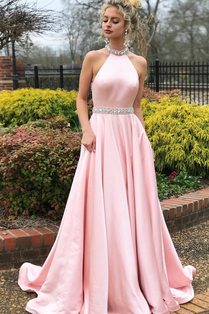 Elegant Charming Long Open Back Beading A-Line Pink Prom Dresses With