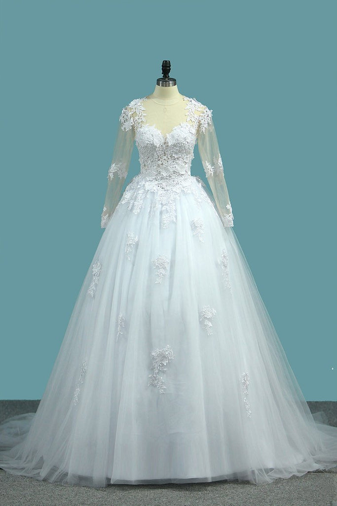 2021 A Line V Neck Long Sleeves Wedding Dresses Tulle With
