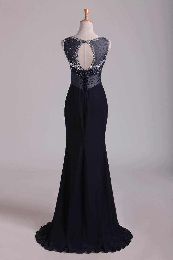 2019 Scoop Open Back Beaded Bodice Floor Length Chiffon Prom Dresses