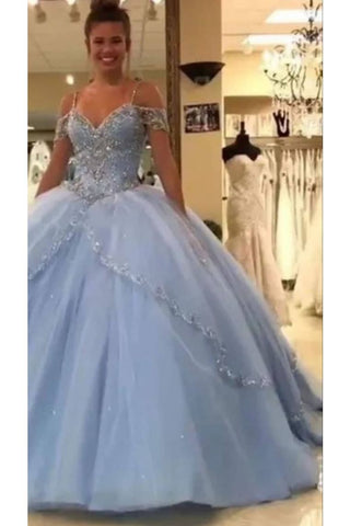 Quinceanera Dresses Ball Gown Off The Shoulder Floor-Length Tulle With Rhinestone Lace Up