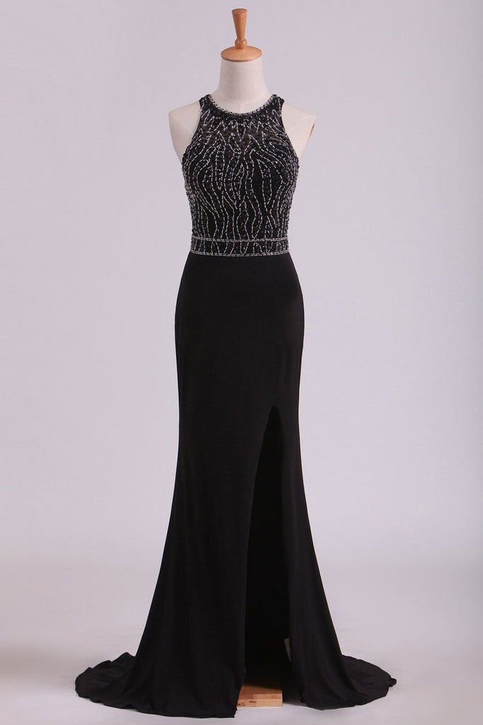 2021 Black Open Back Prom Dresses Scoop Spandex With Beading & Slit Sweep Train