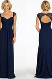 Sexy A-Line Sweetheart Cap Sleeve Lace Open Back Navy Blue Long Bridesmaid Dresses JS80
