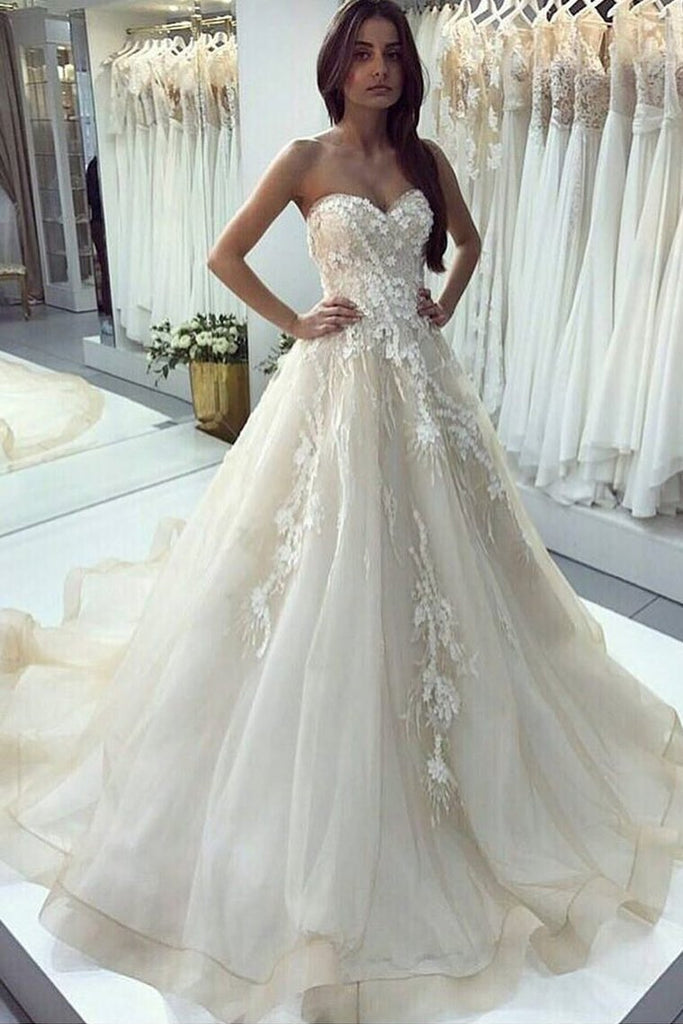 2019 Sweetheart A Line Wedding Dresses Tulle With Applique