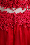 2020 Hot Two Pieces Prom Dresses Tulle A Line With Applique Red