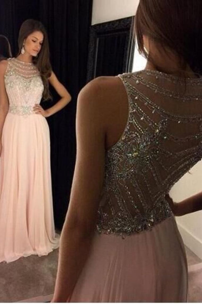 Scoop Prom Dresses A Line Chiffon With