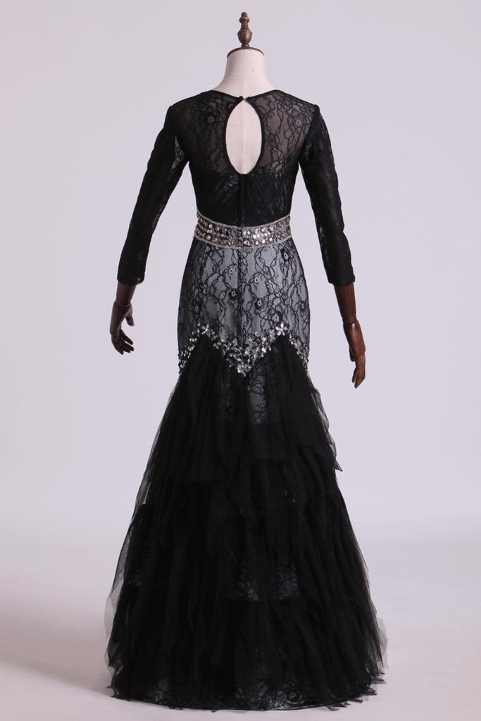 2020 Black Mermaid Evening Dresses Scoop Open Back Long Sleeves Tulle & Lace With Beading
