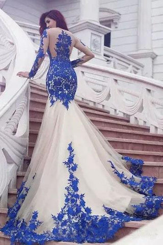 Mermaid Royal Blue Scoop Appliques Tulle Prom Dresses Long Evening SME20464