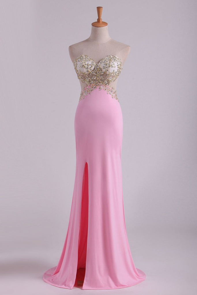 2019 Hot Sexy Prom Dresses Sheath With Slit And Applique Sweep Train Spandex