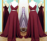 Two Piece Straps Long Prom Dress Evening Dress Spaghetti Straps Wine Red Prom Dresses JS159