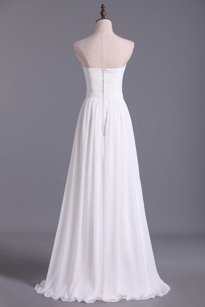 2019 Chic Prom Dresses Long A Line Strapless Chiffon Ivory Color Petite Size Under 200