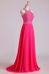 2021 Halter Prom Dresses Beaded Bodice Open Back A Line Chiffon & Tulle Sweep Train