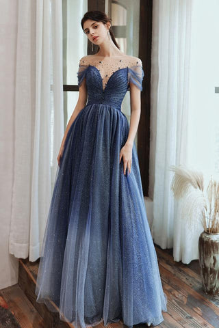 Charming A Line Blue Ombre Tulle Prom Dresses with Open Back, Evening SME15622