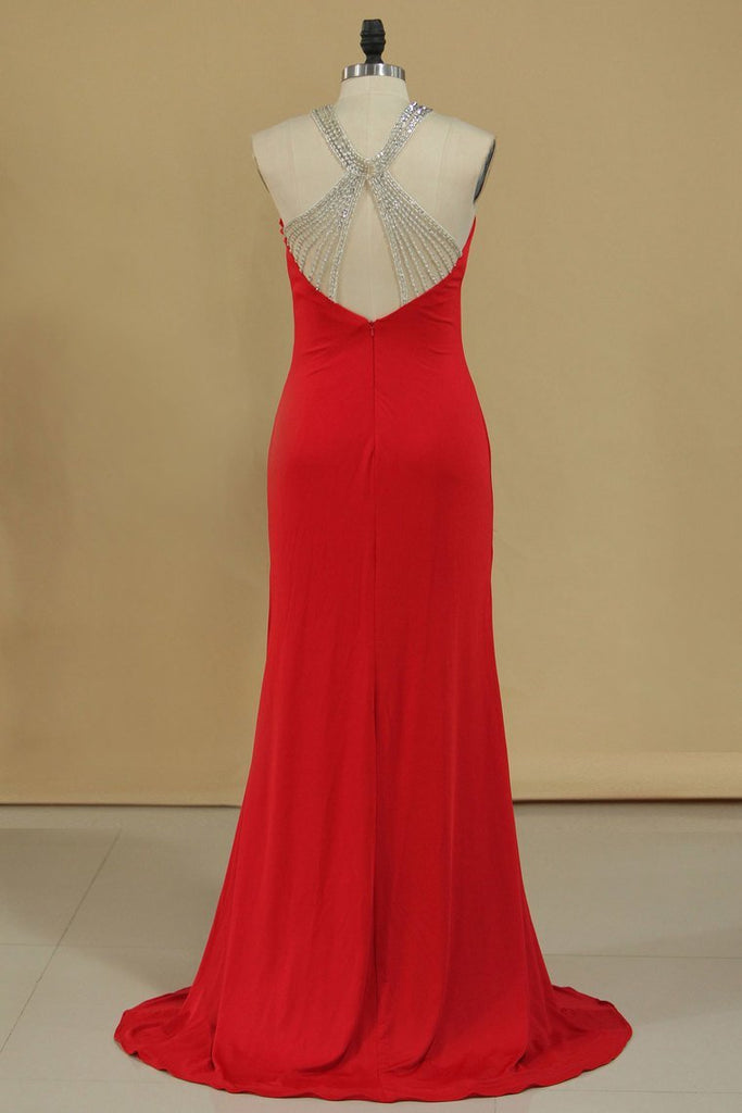 2020 Halter Spandex With Beads Sweep Train Sheath Prom Dresses