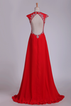 Prom Dress V Neck Open Back Chiffon With Beading Sweep Train
