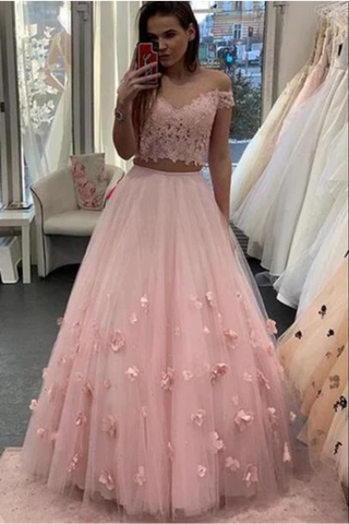 Two Piece Floor Length Tulle Prom Dress With Lace, Long Off The Shoulder Dress With