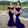 Stunning Off Shoulder Sweep Train Burgundy Mermaid Bridesmaid Dress with Sequins JS617