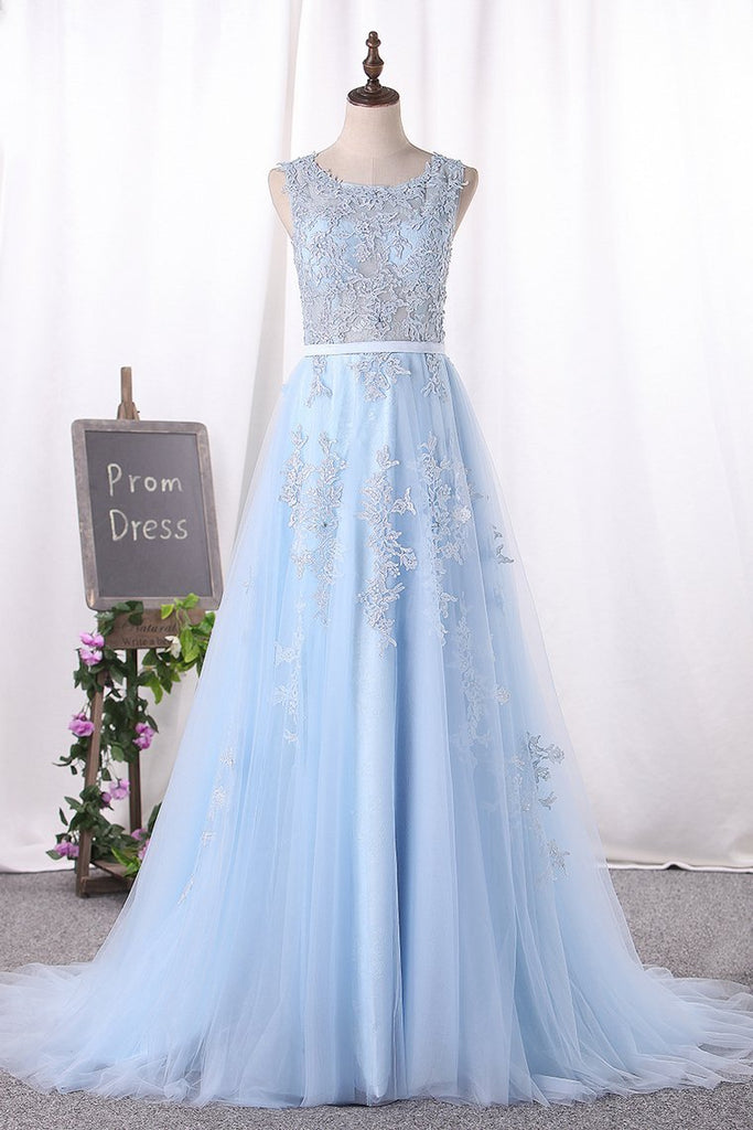 Scoop A Line Prom Dresses Tulle With Applique
