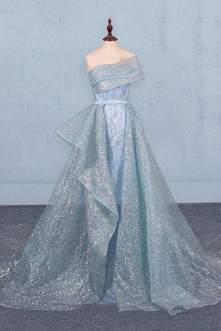 Gorgeous Strapless Puffy Prom Dress, Glitter Sheath Evening Dress With Detachable