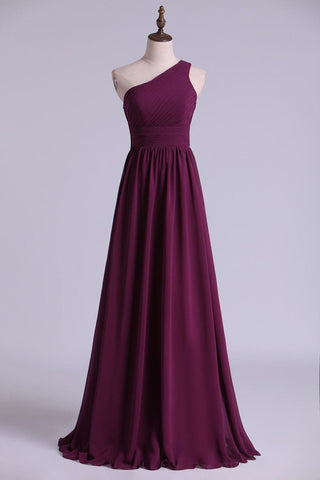 2021 Bridesmaid Dresses A Line One Shoulder Floor Length With Ruffle