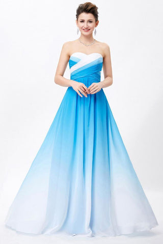 Ombre Spaghetti Straps A-Line Chiffon Blue Lace up Sweetheart White Prom Dresses UK SME360