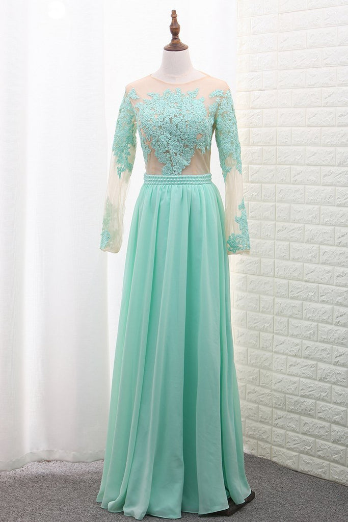 Scoop A Line Chiffon Long Sleeves Prom Dresses With Applique