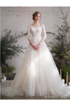 Wedding Dress With 3/4 Sleeves And Appliques Illusion