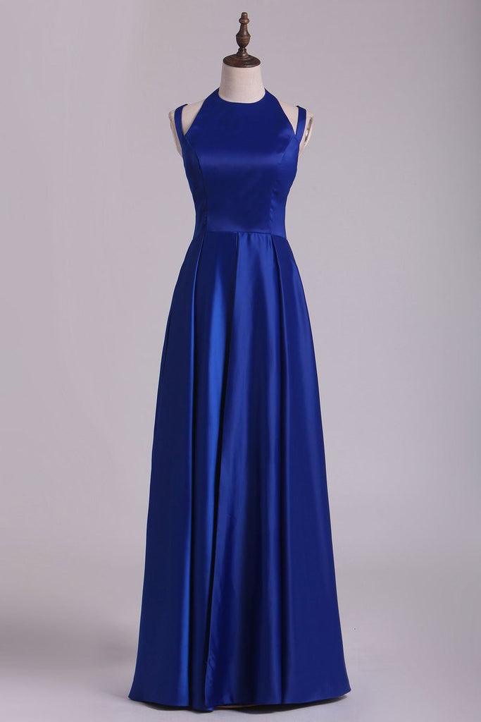 Scoop Prom Dresses A Line Open Back Stretch Satin With Slit Floor