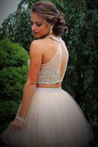 Sparkle Two Pieces Halter Open Back Pink Sleeveless Beads Tulle Homecoming Dress JS952