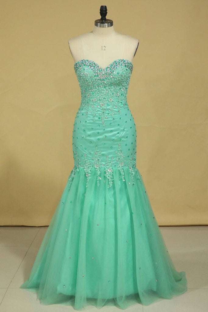 2021 Plus Size Sweetheart Prom Dresses Mermaid/Trumpet Floor Length Beaded Bodice Tulle