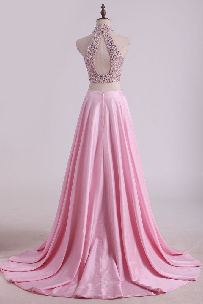 Two-Piece High-Neck Beaded Bodice Taffeta Prom