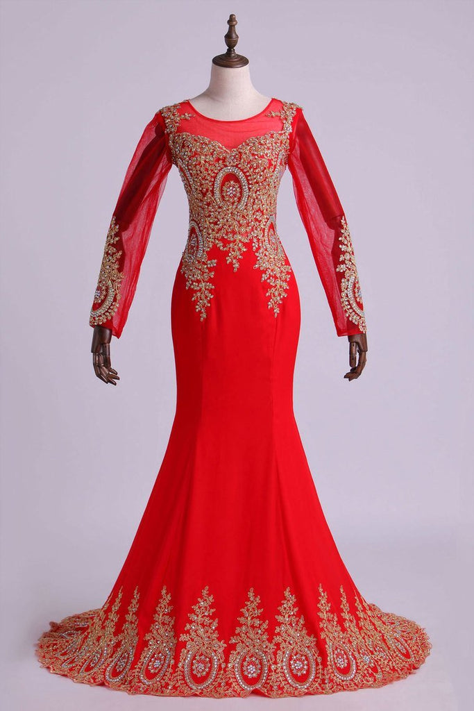 Prom Dresses Long Sleeves Scoop Mermaid Beaded Court Train