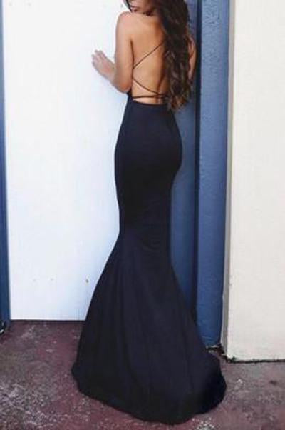 Sexy black long prom dress slim Backless Cross evening gown formal Dress JS90